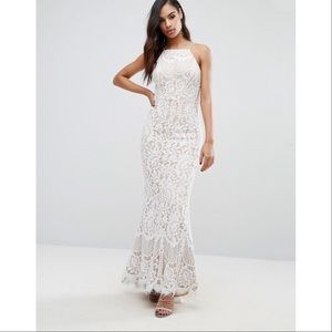 ASOS Jarlo Lace Maxi Sheath White Nude Dress
